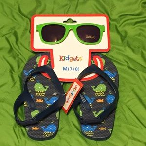 Other - 😎 Beach/Swim Flip Flops & Sunglasses Set